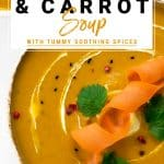 Large bowl of carrot and butternut squash soup topped with a carrot twist and coriander leaves