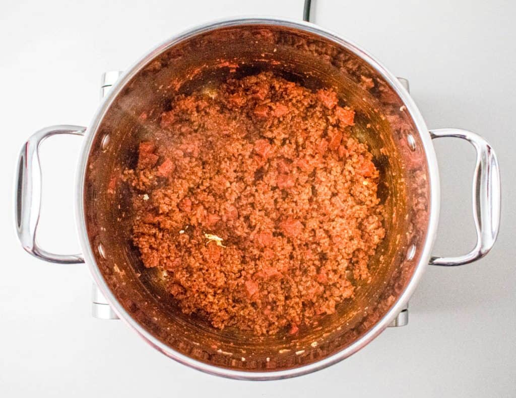 Browned mince with tomato puree mixed in