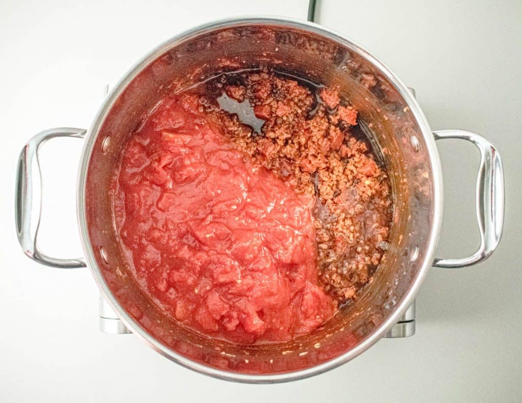 Browned mince with tinned tomatoes, honey and balsamic vinegar