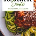Bolognese sauce on courgette spaghetti with basil