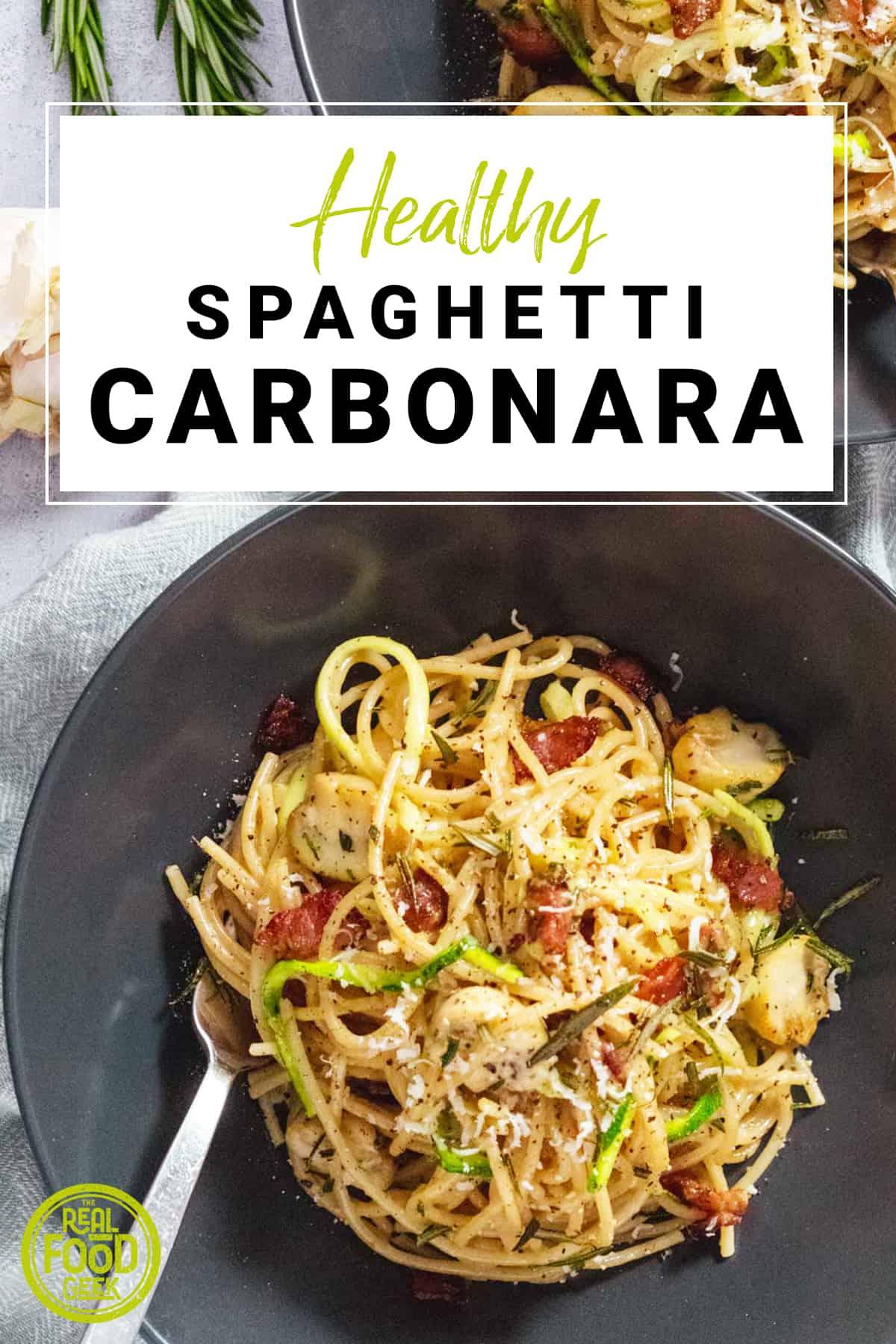 Bowl of healthy spaghetti carbonara in black pasta bowl