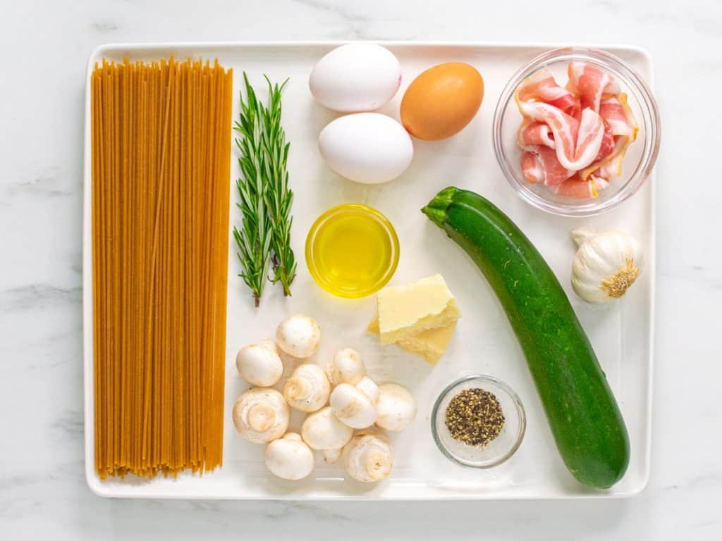 Healthy spaghetti carbonara ingredients