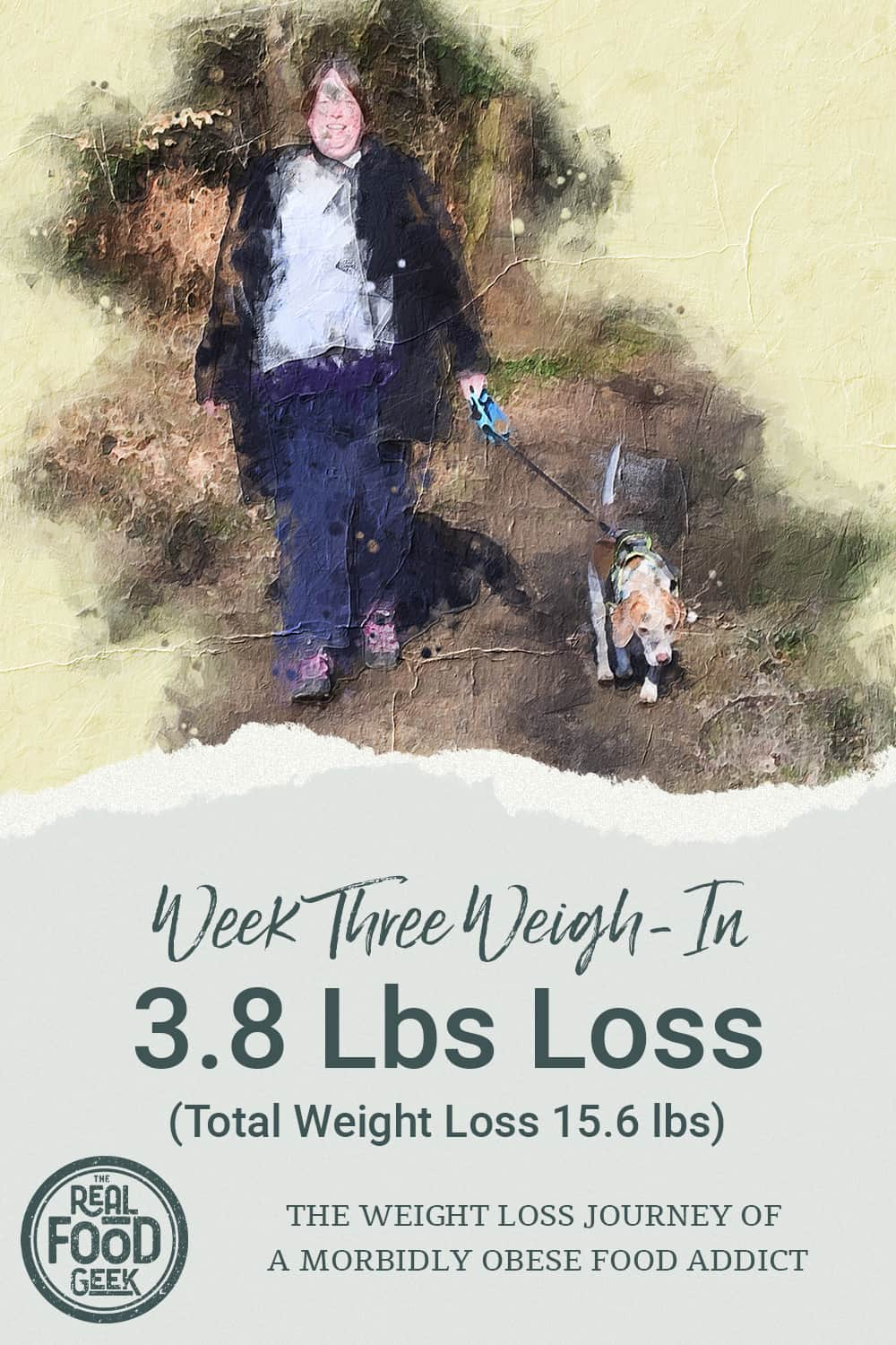 Cheryl walking the dog with total weight loss graphic
