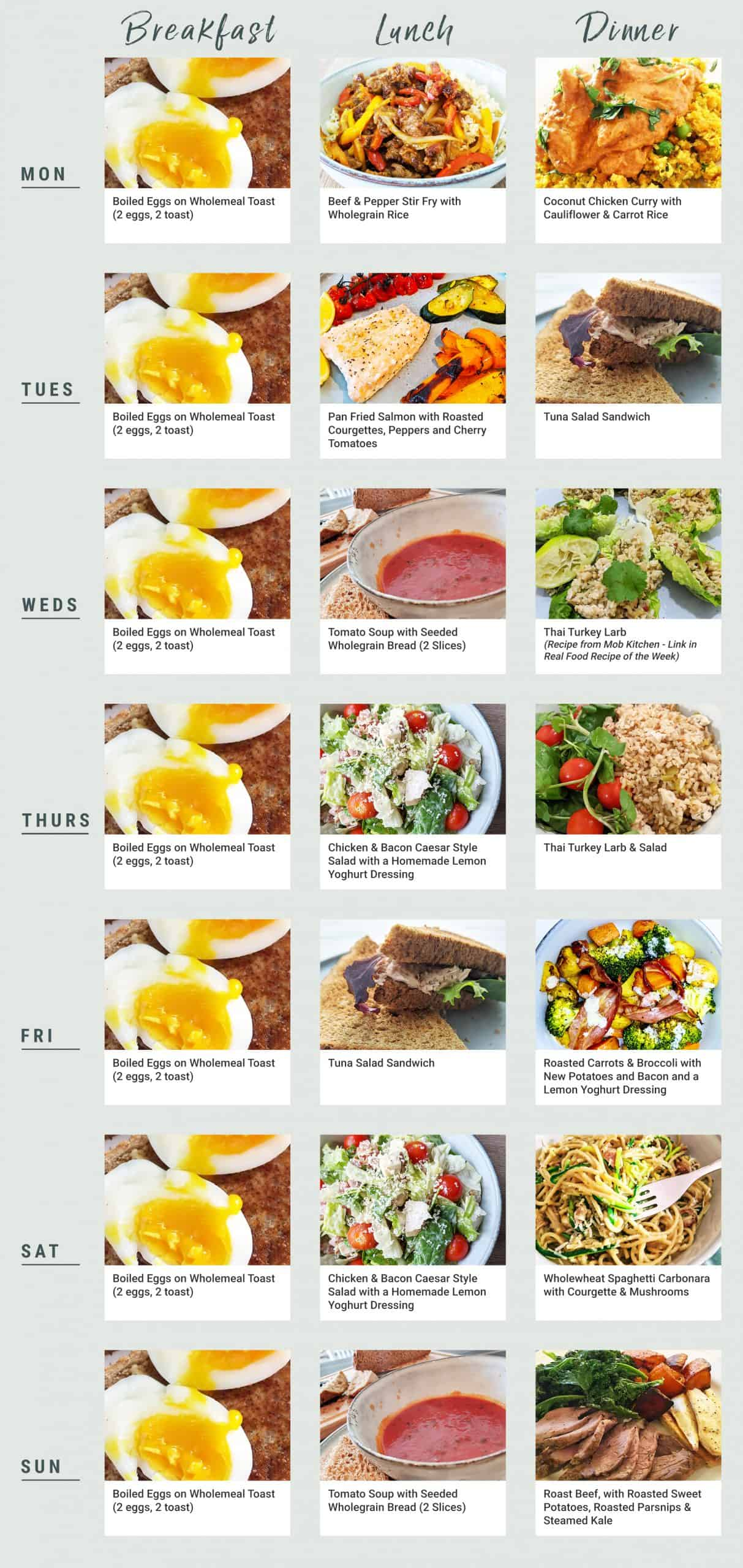 Monday to Friday Meal Planner