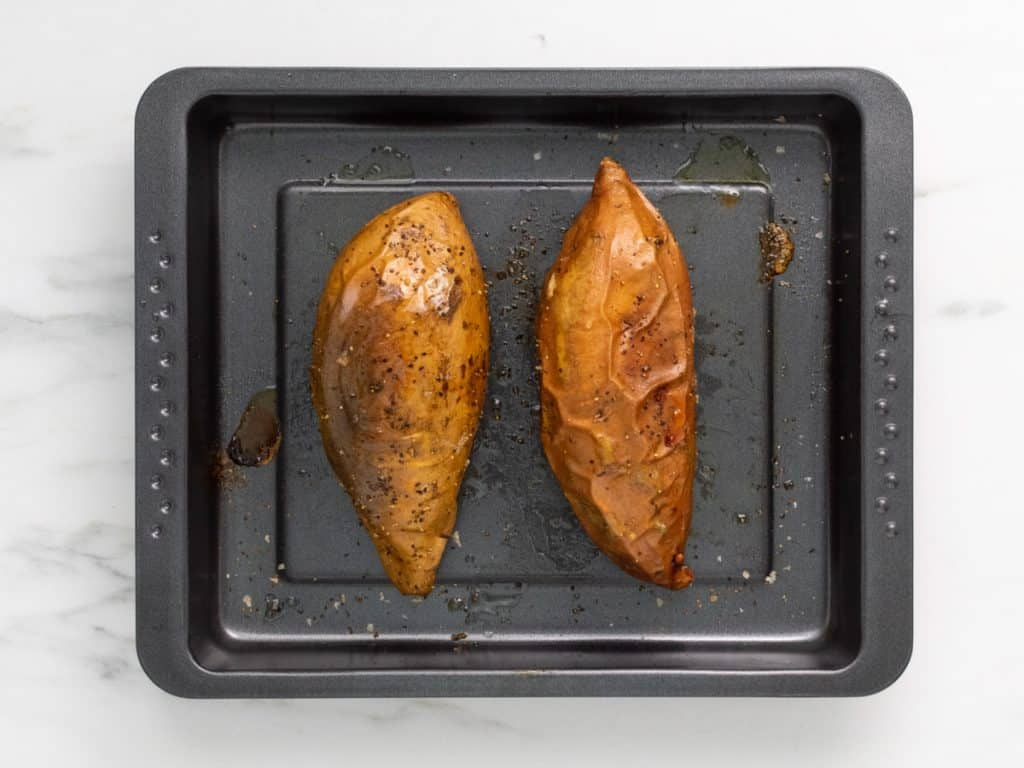 Two oven baked sweet potato jackets