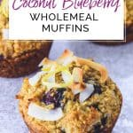 3 Coconut Blueberry Wholemeal Muffins