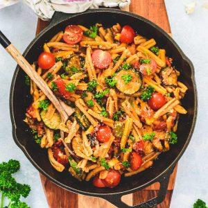 Mediterranean Vegetable Pasta in a skillet