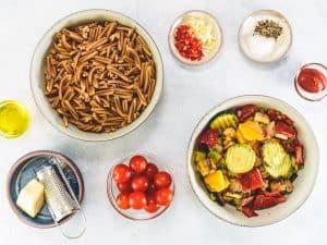 Mediterranean Vegetable Pasta ingredients