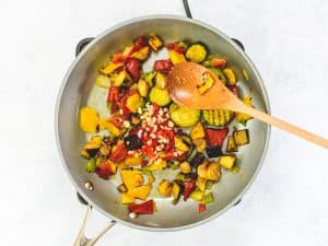 Mediterranean vegetables in a frying pan with chilli and garlic
