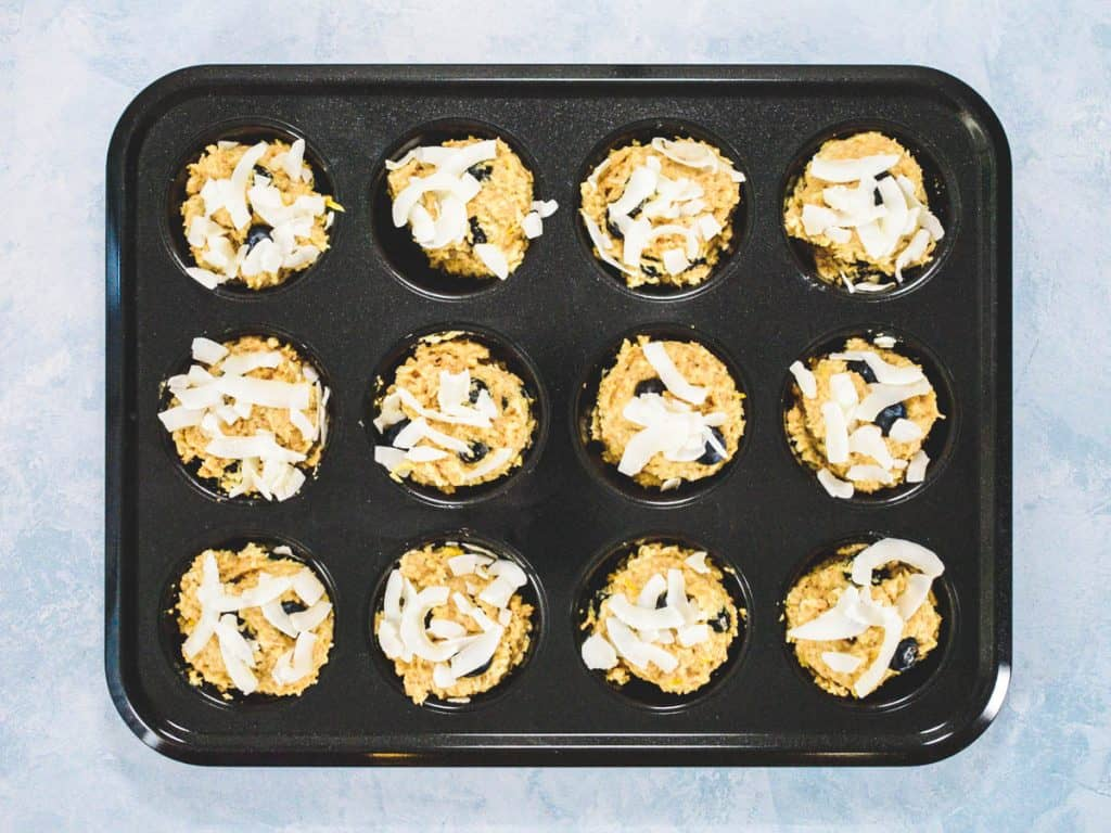 Raw Coconut Blueberry Wholemeal Muffins in Baking Tray