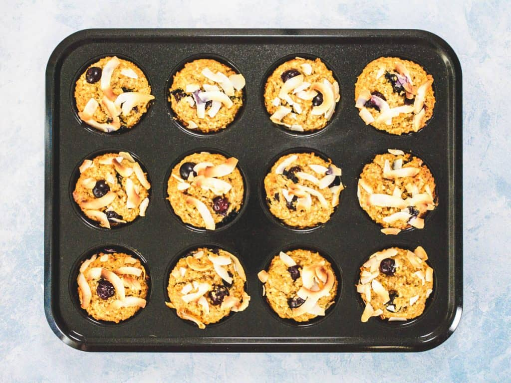 Baked Coconut Blueberry Wholemeal Muffins in Baking Tray