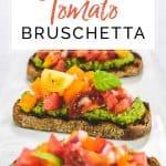 Tomato bruschetta on a platter