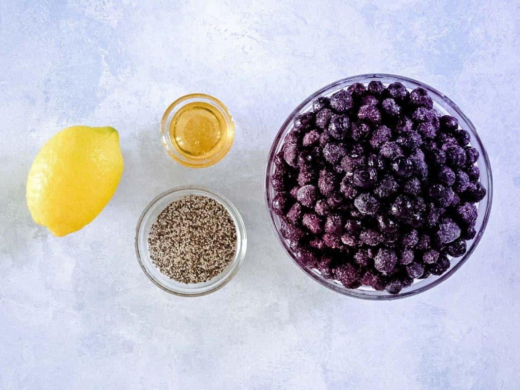 Blueberry chia jam ingredients