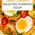Pinterest pin of Curried Chickpea and Roasted Pumpkin Soup