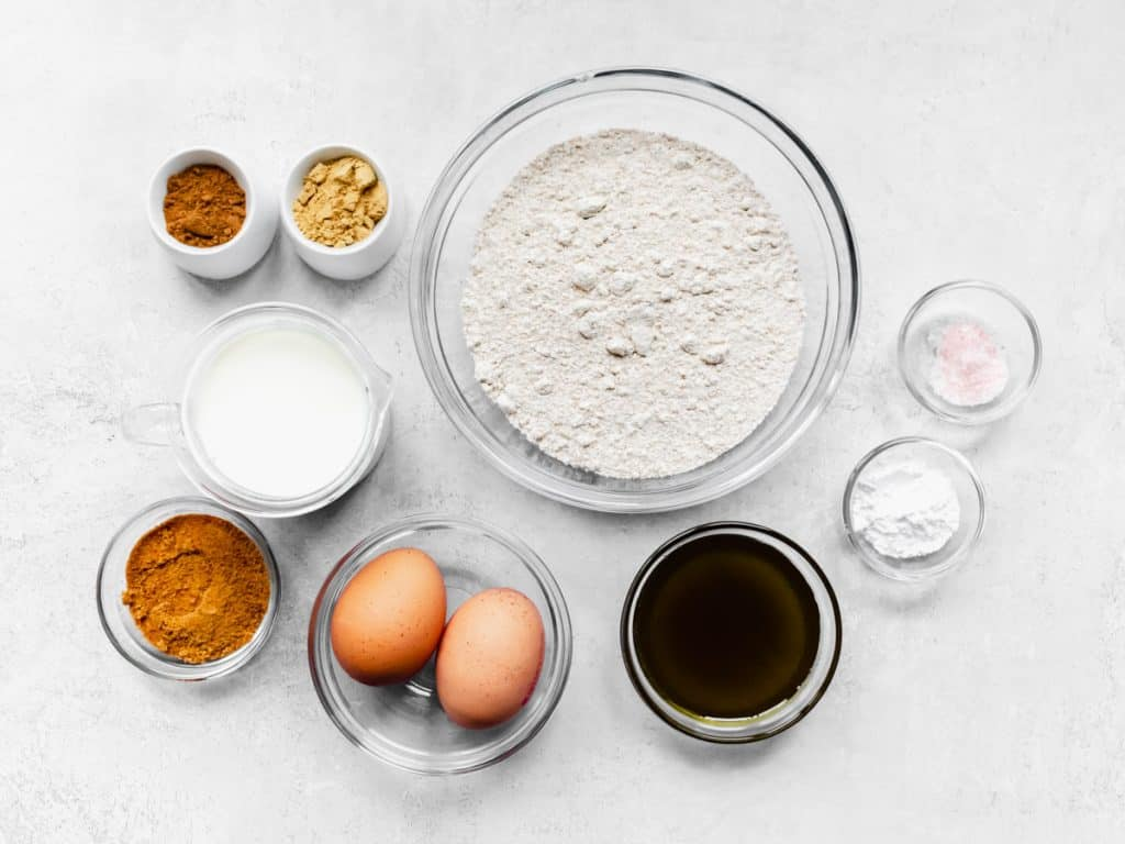 Ingredients for wholemeal gingerbread pancake batter