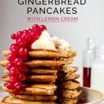 Stack of wholemeal ginger pancakes with lemon cream