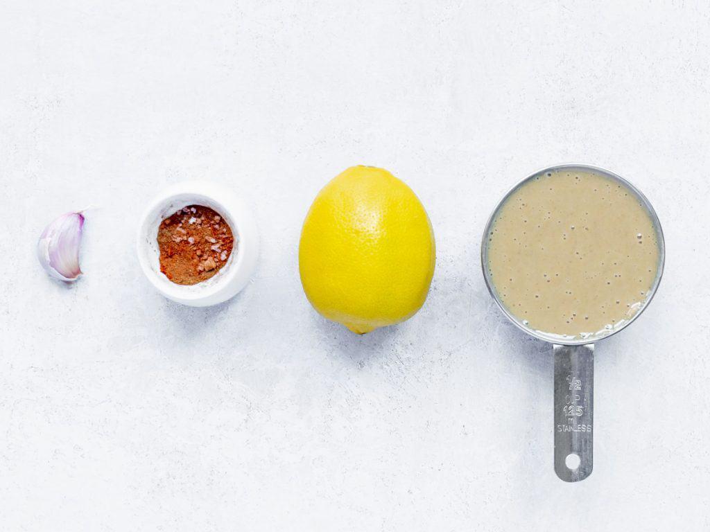 ingredients for Roasted Garlic Tahini Dressing