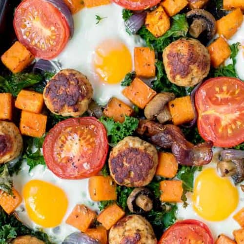 Healthy Full English Breakfast on baking tray