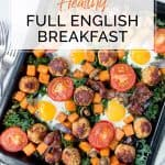Healthy Full English Breakfast on baking tray
